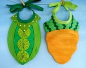 Baby Bib Sewing Pattern for Pea Pod and Carrot - PDF ePattern