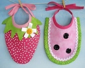 Strawberry and Watermelon Baby Bib Sewing Pattern - PDF ePattern