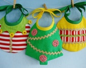 Christmas Baby Bib Sewing Pattern for Elf, Tree and Ornament - PDF ePattern