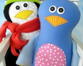 Doll Sewing Pattern for Pete Penguin and Bella Bird - PDF e-pattern