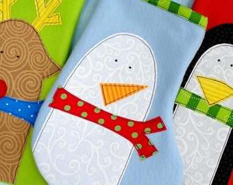 Christmas Stocking Sewing Pattern for Penguin, Snowman and Reindeer Stockings and Applique Designs - PDF ePattern