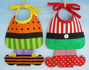 Christmas Elf and Halloween Witch Baby Bib Sewing Pattern - PDF ePattern