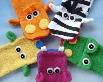 Toy Sewing Pattern for Wash Cloth Hand Puppets - PDF e-Pattern