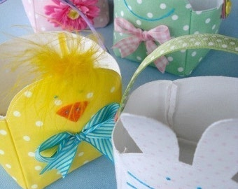 SALE - PDF e-Pattern - Spring Baskets - Bunny, Chick, Frog and Plain