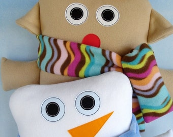 Reindeer and Snowman Pillow - Toy Sewing Pattern - Christmas - Winter - PDF ePATTERN