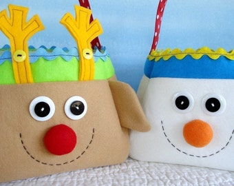 Reindeer, Snowman and Elf Christmas Holiday Bags - Sewing Pattern - PDF ePATTERN