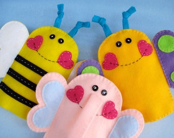 Valentine Felt Hand Puppets Sewing Pattern - PDF ePATTERN for Elephant, Butterfly and Bee