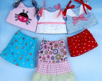 Sewing Pattern for American Girl Doll Clothing PDF e Pattern - 18 inch Doll Shirts and Skirts