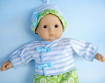 SALE - PDF e-Pattern - Baby Doll Wrap Dress - Shirt, Pants and Knot Hat - 15 Inch to 16 Inch Dolls