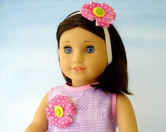 18 inch American Girl Doll Clothes Sewing Pattern - Dress and Hair Accessories - PDF ePattern