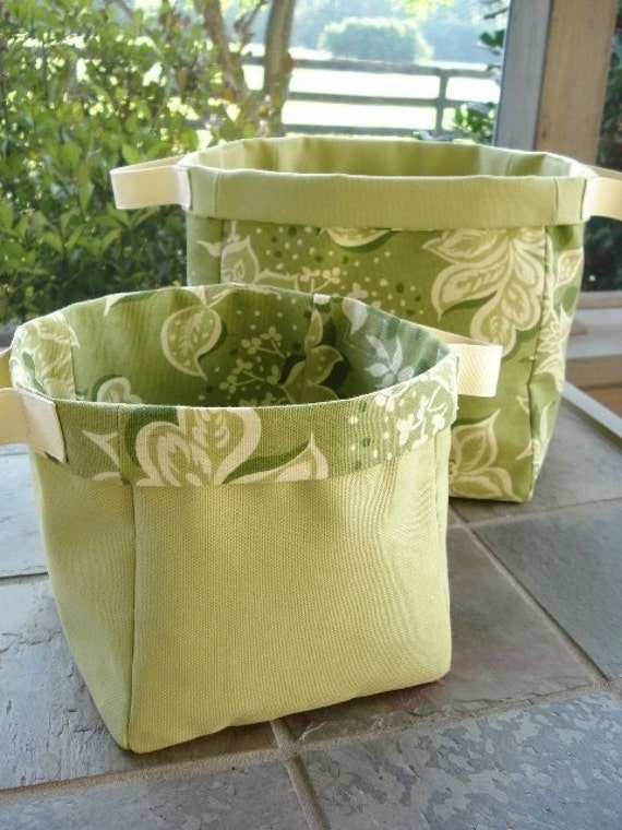SALE - PDF e-Pattern - Fabric Storage Containers - Plain and with Monkey Applique