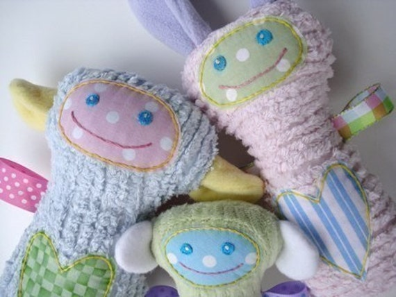 SALE - PDF ePATTERN for Precious Sheep, Monkey and Bunny Dolls with Ribbon Arms