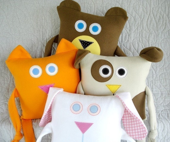 SALE - PDF ePATTERN for Kitty, Puppy, Bunny and Bear Pillows Pattern