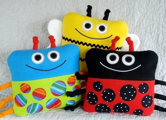 SALE - PDF ePATTERN for Beetle, Bee and Ladybug Pillows
