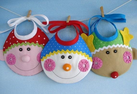 Christmas Baby Bib Sewing Pattern - Elf, Snowman and Reindeer - PDF ePattern