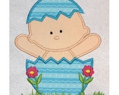Easter Baby with arms up applique embroidery machine-5x7 or 4x4 hoop