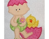 Easter Egg Baby standing applique embroidery machine-5x7 or 4x4 hoop