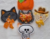 Halloween Candy Cozies Embroidery designs-Cat pumpkin skull scarecrow-set of 4