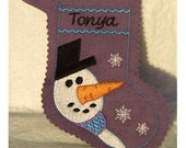 Snowman Christmas stocking-embroidery machine design-completely sewn by machine