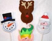 Christmas Sucker covers-machine embroidery designs set of 4-santa reindeer snowman elf