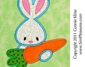 Bunny holding carrot 2 applique machine embroidery design 4x4 or 5x7 size