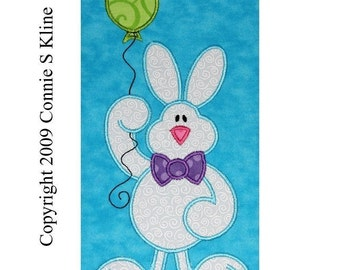 Spring Easter Bunny Rabbit holding balloon embroidery machine applique CUTE
