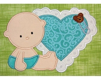 CUTE BABY with heart Applique Embroidery Machine 5x7 hoop-Cute for boy or Girl