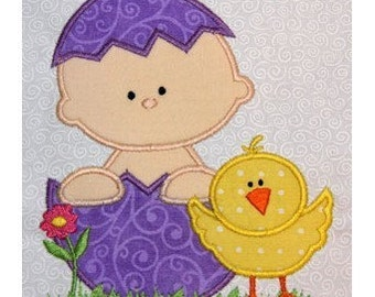 Easter Baby with Chick applique embroidery machine-5x7 or 4x4 hoop