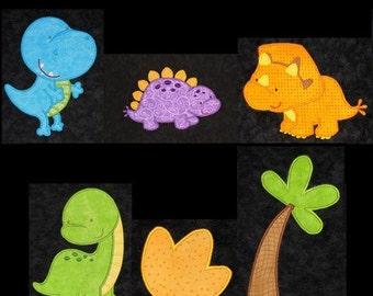 Cute DINOSAUR appliques-machine embroidery designs- set of 6