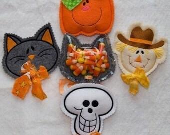 Halloween Candy Cozies Embroidery designs-Cat pumpkin skull scarecrow-set of 4