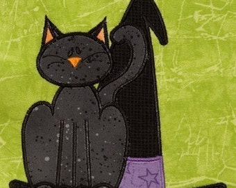 Halloween Cat with Witch hat applique-machine embroidery design-5x7 hoop-FUN for Fall