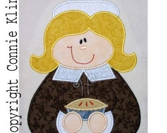 Pilgrim Girl with Pie Machine Embroidery Applique 5x7 hoop Fall-Thanksgiving CUTE