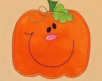 Halloween Fall Cute Pumpkin applique machine embroidery design 4x4 hoop