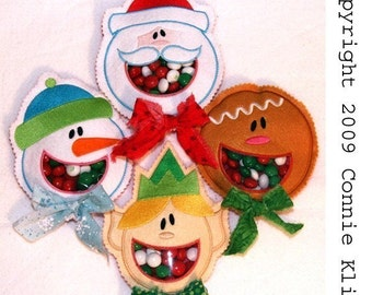 Christmas Open mouth candy cozies 5x7 or 4x4hoop embroidery machine designs (4) santa, snowman, gingerbread, elf
