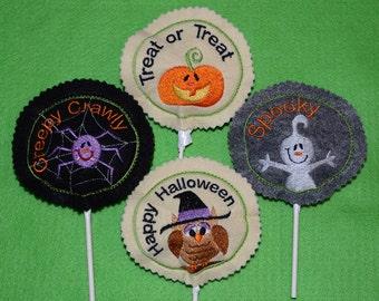 2011 Halloween Sucker Cover set of 4-ghost pumpkin spider and owl 4x4 hoop CUTE