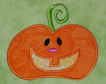 Halloween Fall Cute Pumpkin  (number 2)  only one design  applique machine embroidery design 4x4 hoop