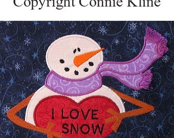 Holiday Snowman holding heart -- Machine Embroidery applique design