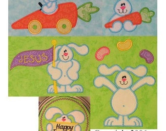 Set of 5 Easter Spring Bunny Rabbit appliques machine embroidery designs CUTE