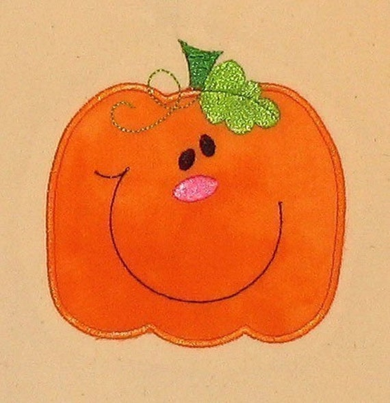 Halloween Fall Cute Pumpkin applique machine embroidery design 4x4 hoop
