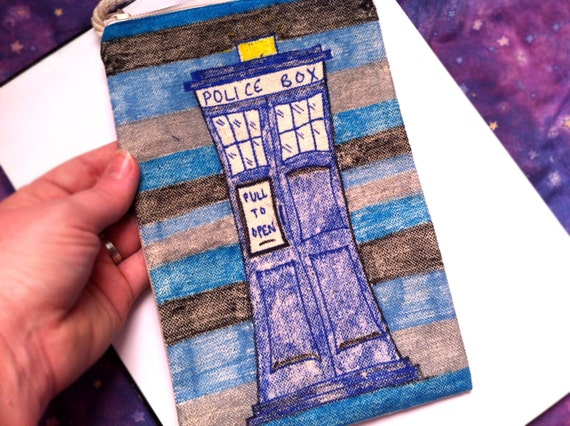 Doctor Who Inspired TARDIS Bag, Blue Striped Canvas Police Box Purse, Wallet, Cosmetic Bag, OOAK