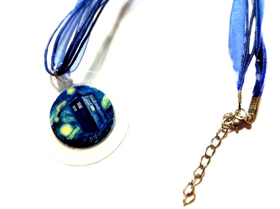 Starry Night TARDIS Necklace Inspired by Doctor Who Bohemian Bear