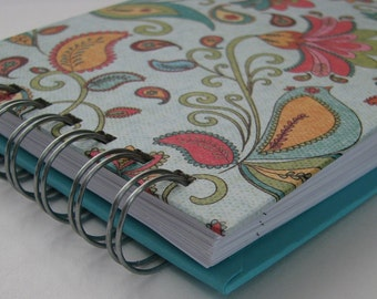 Password Book Tabbed/ Password Book/ Password Log/ Password Keeper/ Password Journal/ Internet Password/  Turquoise, Paisley, Floral Cover