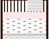 Custom Bumperless 3 Piece Crib Bedding Pink and Grey Chevron and Grey Polka Dots