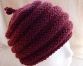 Texture Hand Knit Wool Hat Burgundy by ColAreto