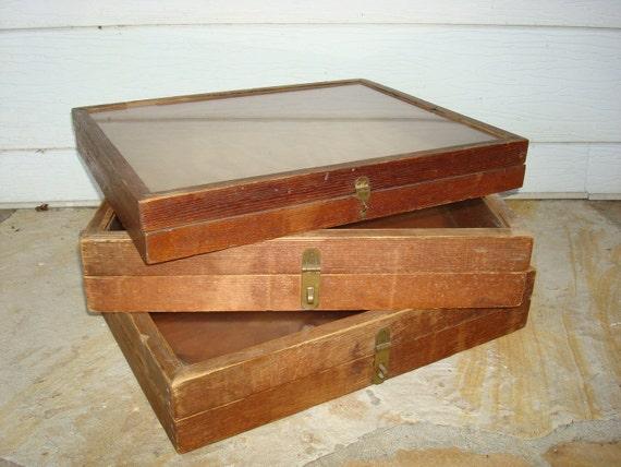 Vintage Jewelry Display Boxes Wood Set of 3