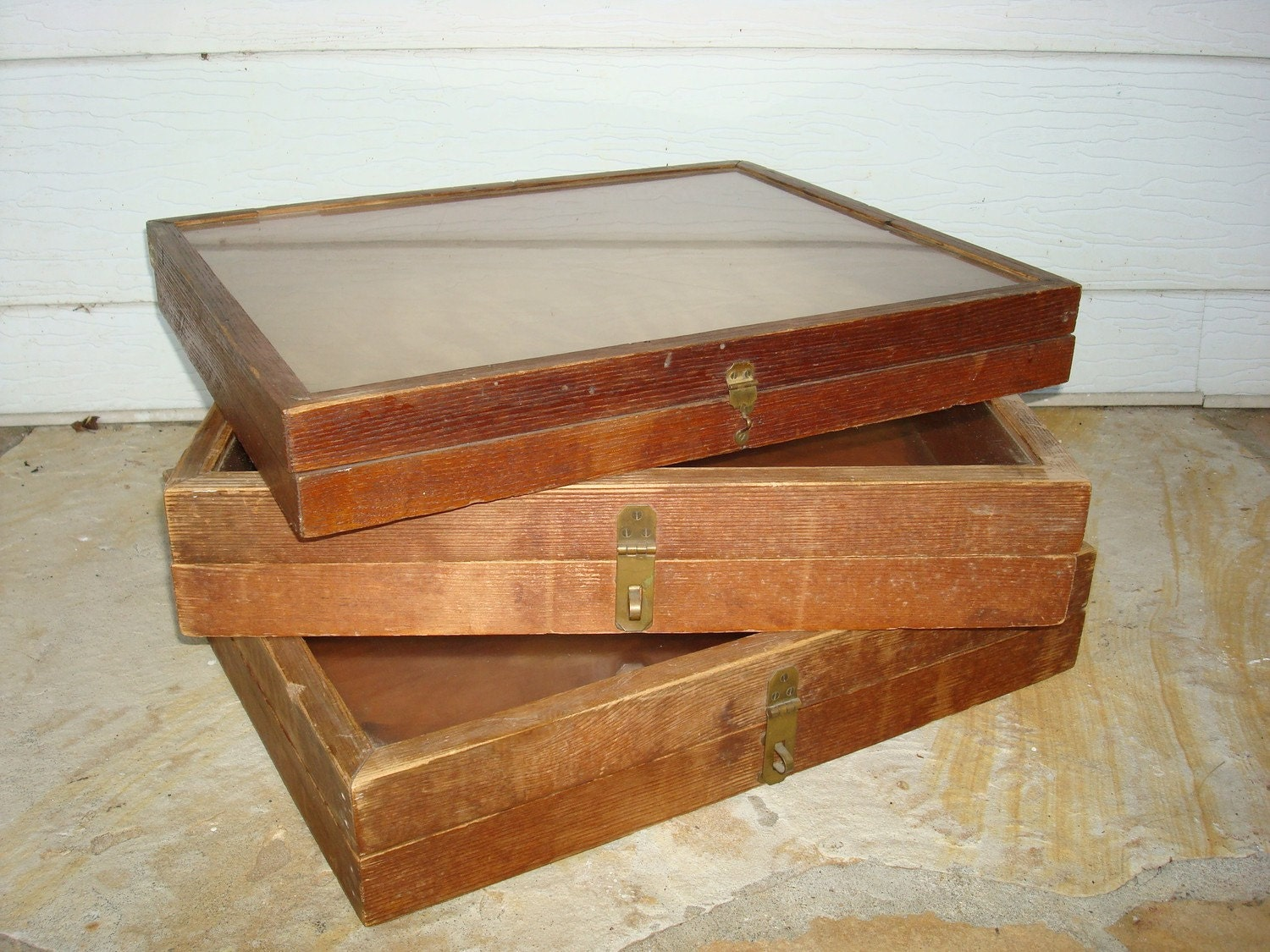 vintage jewelry display boxes wood set of 3