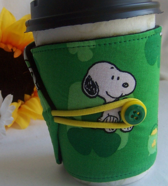 Coffee Cozy - Good Luck Snoopy - FREE SHIPPING