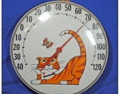 """12"""" 1960s Bubble Glass Orange Tabby Cat Outdoor Thermometer"""