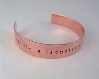 Copper Cuff Bracelet - Mother's Day Gift - Personalized Custom Hand Stamped Gift for Mom or Grandma
