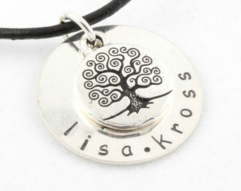 Mother's Day Gift for Mom - Tree of Life Necklace - Personalized Gift - Hand Stamped - Custom Sterling Silver - Family Tree Necklace